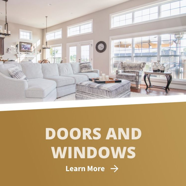Doors and windows in living room with white trim and learn more link