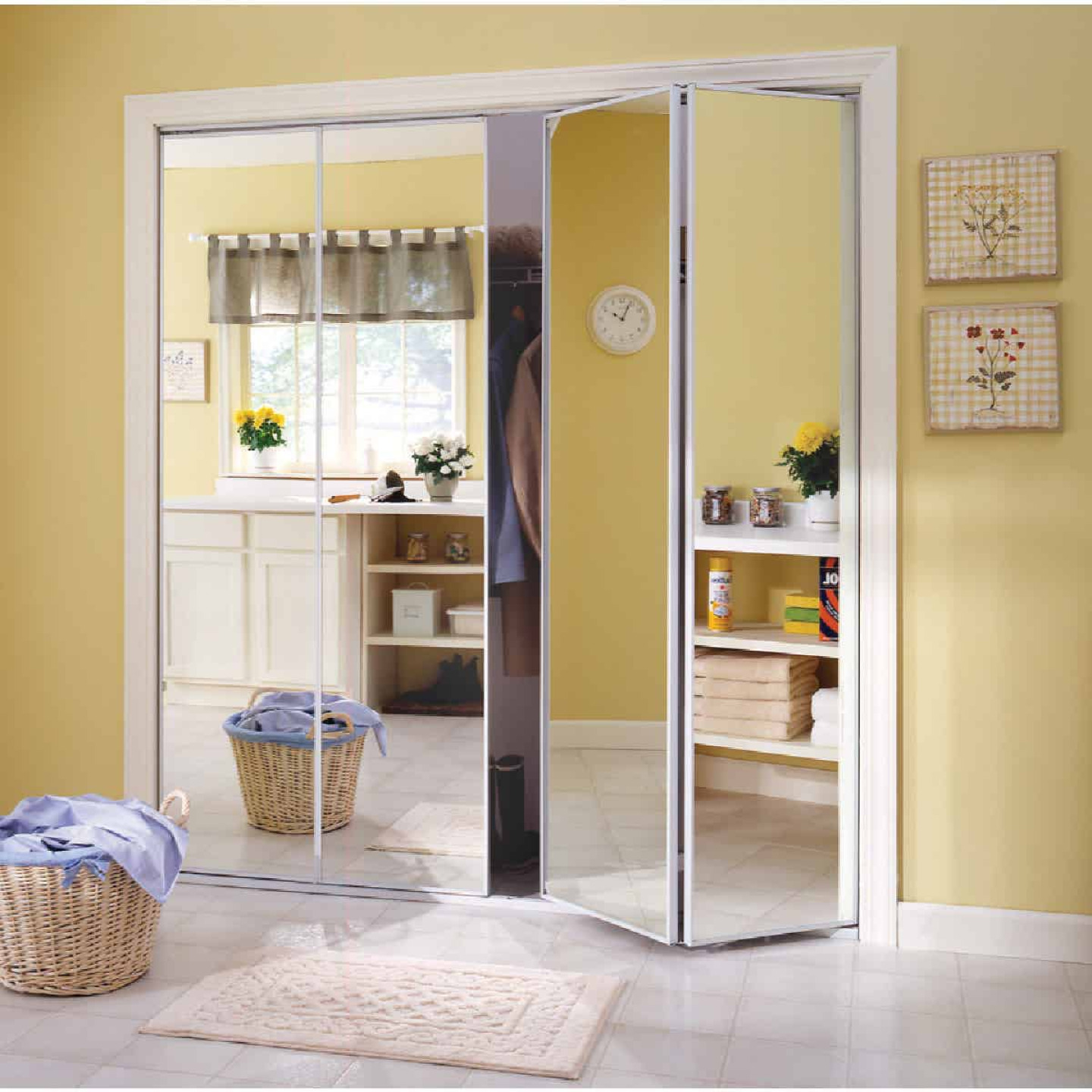 Erias Series 4400 24 In. W. x 80-1/2 In. H. Steel Frame Mirrored White Bifold Door Image 1