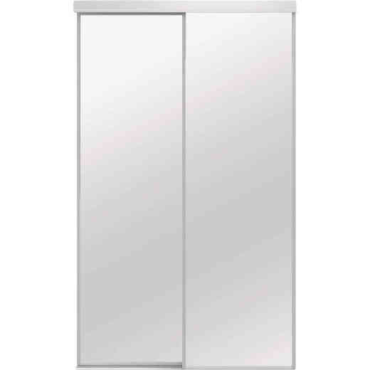 Colonial Elegance Economical Series 72 In. x 80-1/2 In. White Framed Mirrored Sliding Bypass Door