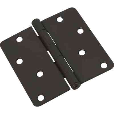 National 4 In. x 1/4 In. Radius Oil Rubbed Bronze Door Hinge