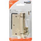 National 3-1/2 In. Square Satin Brass Spring Door Hinge Image 2