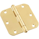 National 3-1/2 In. x 5/8 In. Radius Solid Brass Door Hinge Image 1