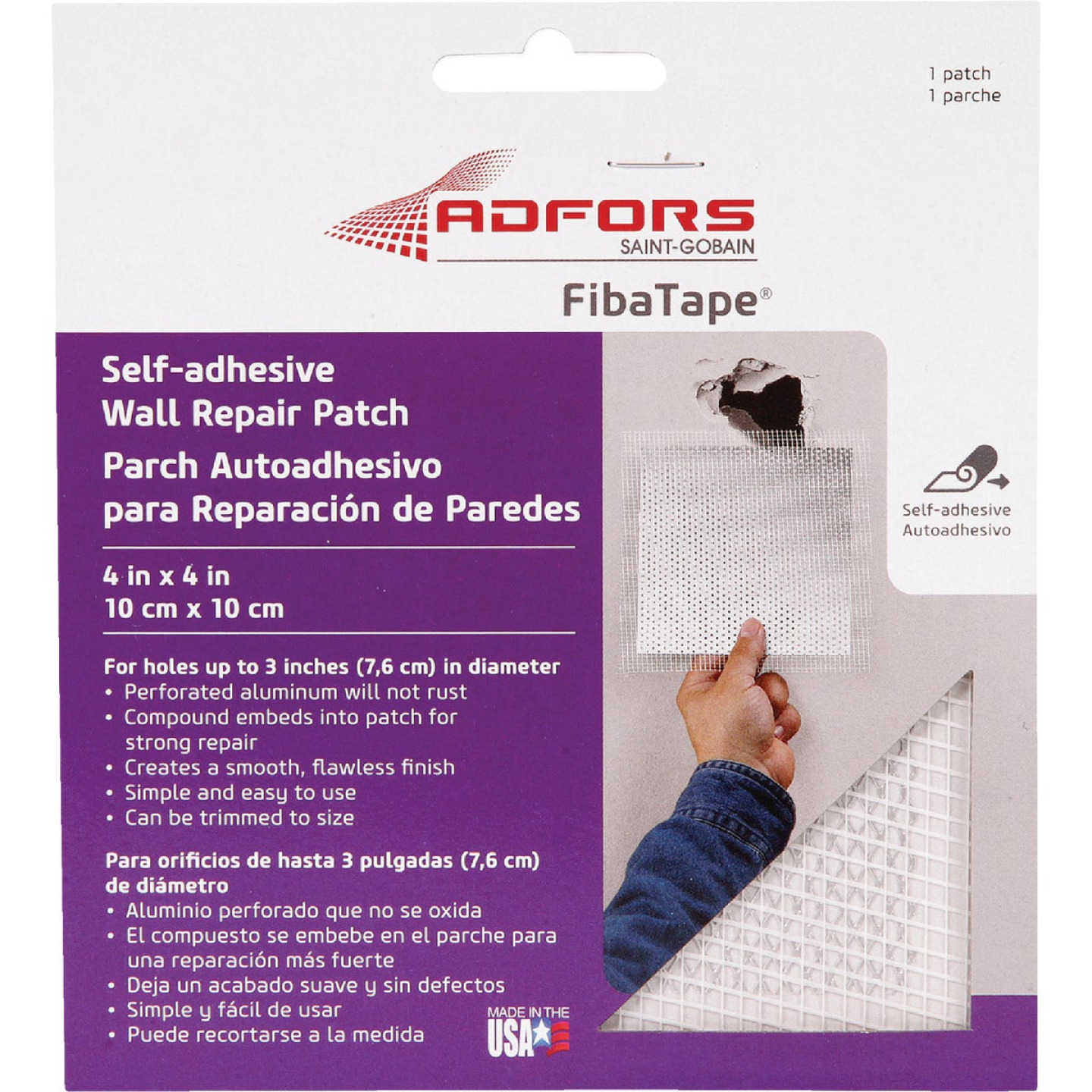 FibaTape 4 In. x 4 In. Wall & Ceiling Self-Adhesive Drywall Patch Image 1