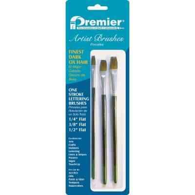Premier Assorted Dark Ox Hair Artist Brushes (3 Pieces)